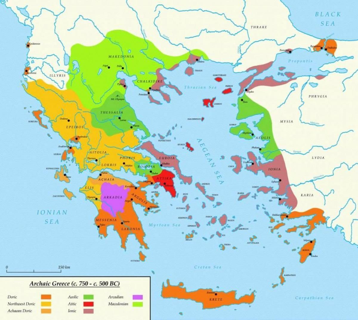 karte antikes griechenland Athen das Antike Griechenland Karte   Karte von Athen und sparta
