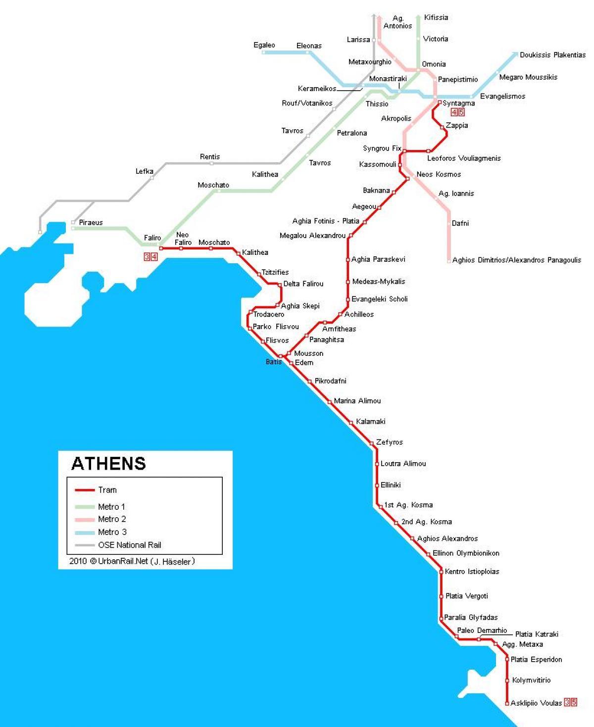 Athen tram map - Tram-Karte von Athen (Griechenland ...